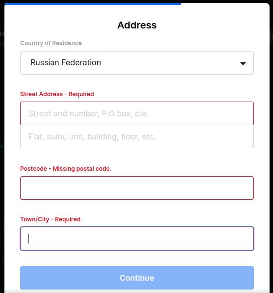 внесение адреса при регистрации